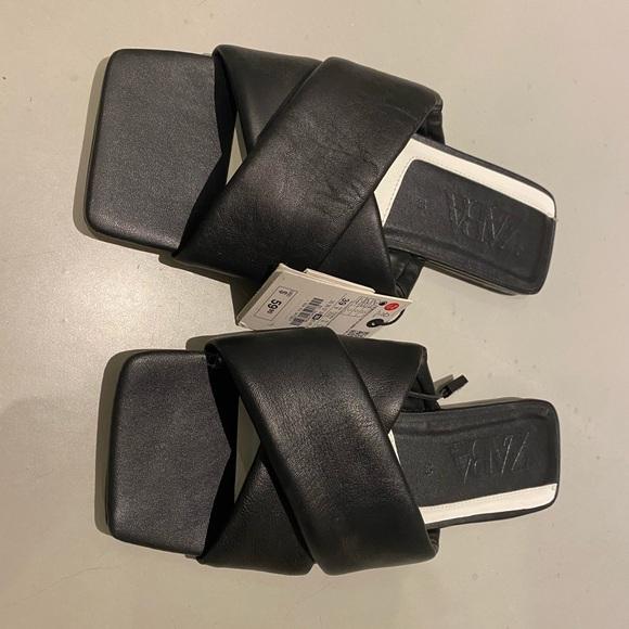 Zara leather square toe flats